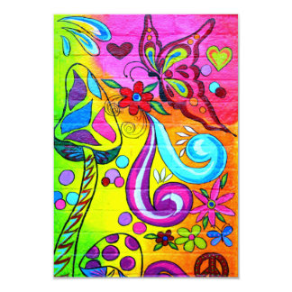 Colorful hippie mushroom butterfly invitation