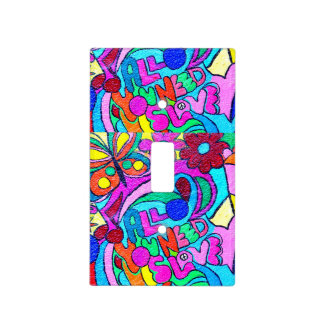 colorful hippie peace and love cover light switch plate