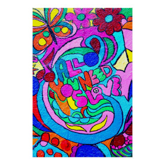 colorful hippie peace and love poster