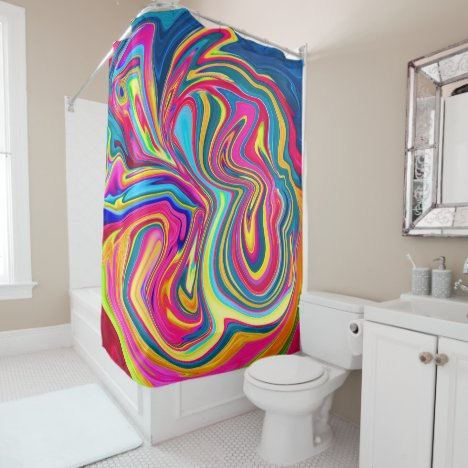 Colorful Hippie Rainbow Abstract Swirl Shower Curtain