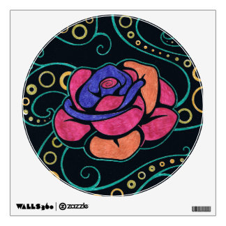 Colorful Hippie Rose Removable Fabric Wall Decal