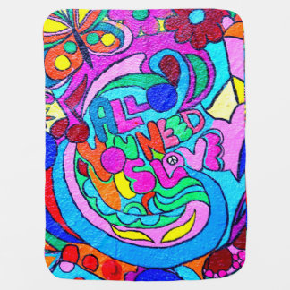 colorful hippie-style love baby blanket