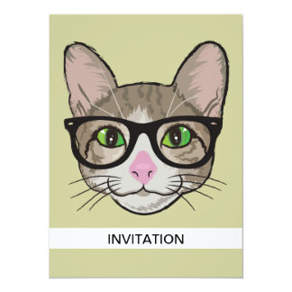 Colorful Hipster Cat Card