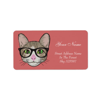 Colorful Hipster Cat Label