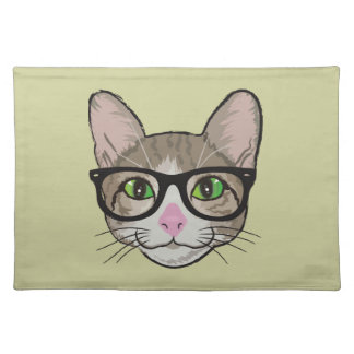 Colorful Hipster Cat Placemat