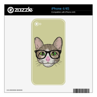 Colorful Hipster Cat iPhone 4S Skin