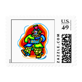 Colorful Hobo Clown Postage