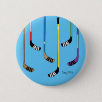 Colorful Hockey Sticks Flare Button