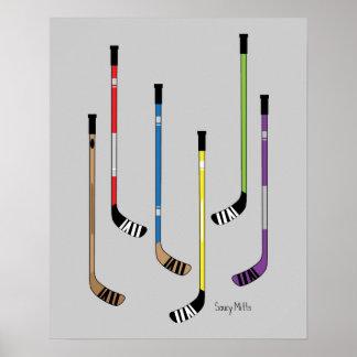 Colorful Hockey Sticks Poster