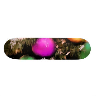 Colorful Holiday Christmas Tree Ornaments Skateboard Deck