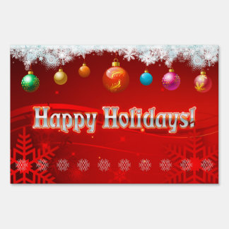 Colorful Holiday Decorations Lawn Sign