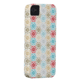 Colorful holiday snowflakes pattern iphone 4 case
