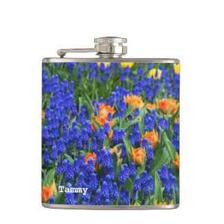 Colorful Holland Blub Flowers Custom Flask