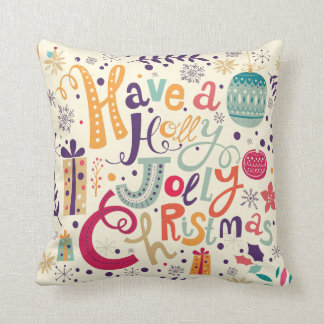 Colorful Holly Jolly Christmas Text Design Throw Pillow