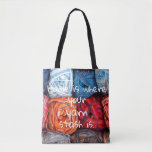 """Colorful/ Home is where your yarn stash is Tote Bag<br><div class=""""desc"""">A funny little something for a crafter  A colorful close-up photo of a stash of yarn and a funny quote &quot;Home is where your yarn stash is&quot;</div>"""