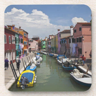 Colorful homes along canal on the island of beverage coaster