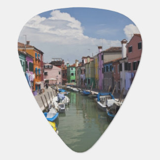 Colorful homes along canal on the island of guitar pick