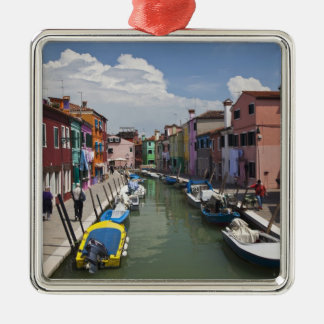 Colorful homes along canal on the island of metal ornament