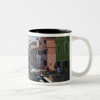 Colorful homes along canal on the island of Two-Tone coffee mug