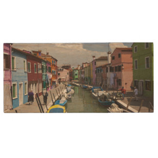 Colorful homes along canal on the island of wood flash drive