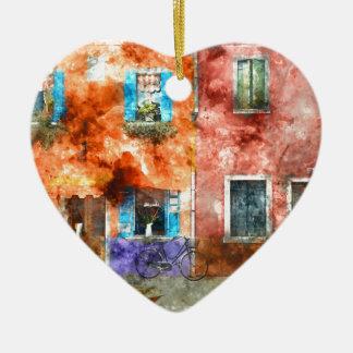 Colorful Homes in Burano Italy near Venice Ceramic Ornament