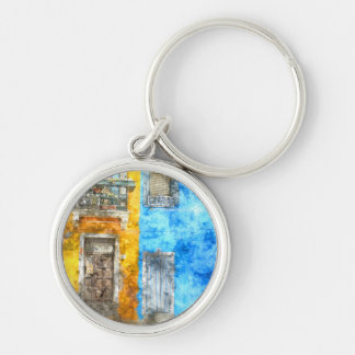 Colorful Homes in Burano Italy near Venice Keychain