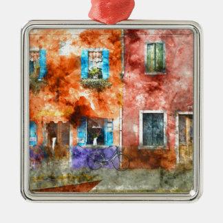 Colorful Homes in Burano Italy near Venice Metal Ornament