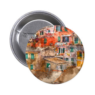 Colorful Homes in Cinque Terre Italy Pinback Button