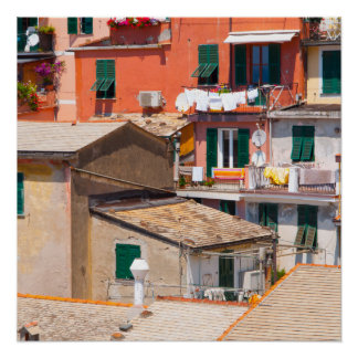 Colorful Homes in Cinque Terre Italy Poster