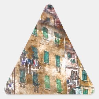 Colorful Homes in Cinque Terre Italy Triangle Sticker