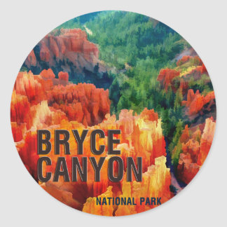 Colorful Hoodoos in Bryce Canyon National Park Classic Round Sticker