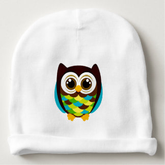 COLORFUL HOOT OWL COTTON BABY BEANIE
