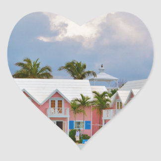 Colorful Hope Town, Bahamas Heart Sticker