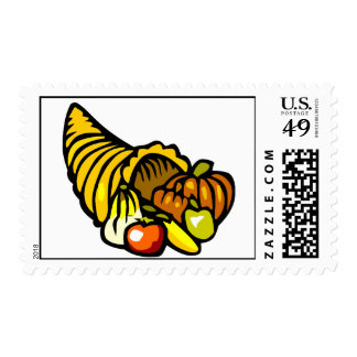 Colorful horn shaped cornucopia postage stamp