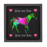 Colorful Horse And Hearts Trinket Box Premium Gift Box