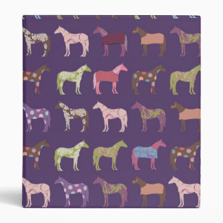 Colorful Horse Pattern 3 Ring Binder