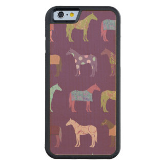 Colorful Horse Pattern Carved Maple iPhone 6 Bumper Case