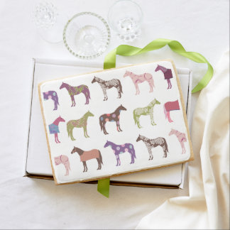 Colorful Horse Pattern Jumbo Shortbread Cookie
