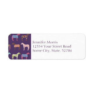 Colorful Horse Pattern Label