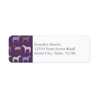 Colorful Horse Pattern Return Address Label