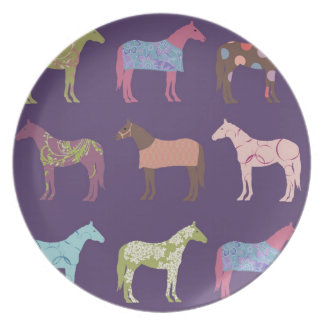 Colorful Horse Pattern Melamine Plate