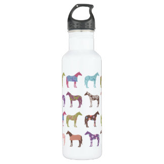 Colorful Horse Pattern 24oz Water Bottle