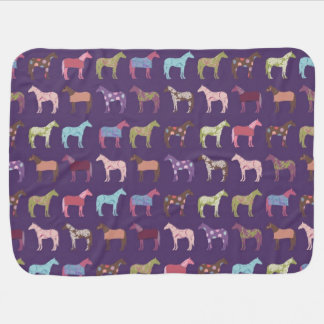 Colorful Horse Pattern Receiving Blanket