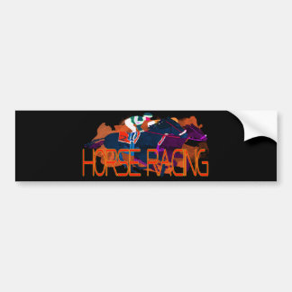 Colorful Horse Racing Bumper Sticker