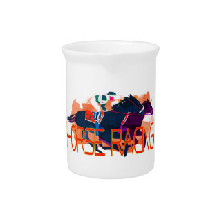 Colorful Horse Racing Drink Pitcher