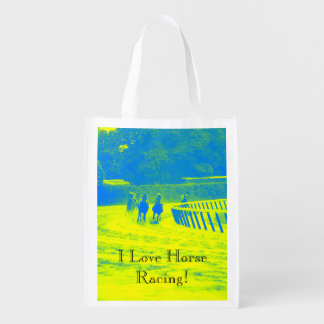 Colorful Horse Racing Grunge Reusable Grocery Bags