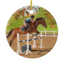 Colorful Horse & Rider Jumping Ceramic Ornament