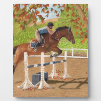 Colorful Horse & Rider Jumping Display Plaque