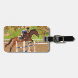 Colorful Horse & Rider Jumping Luggage Tags