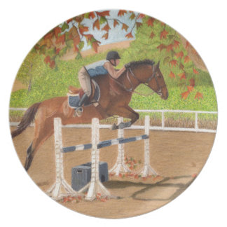Colorful Horse & Rider Jumping Melamine Plate